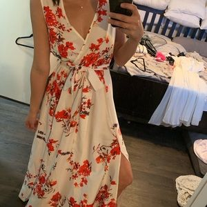 White floral dress with slit